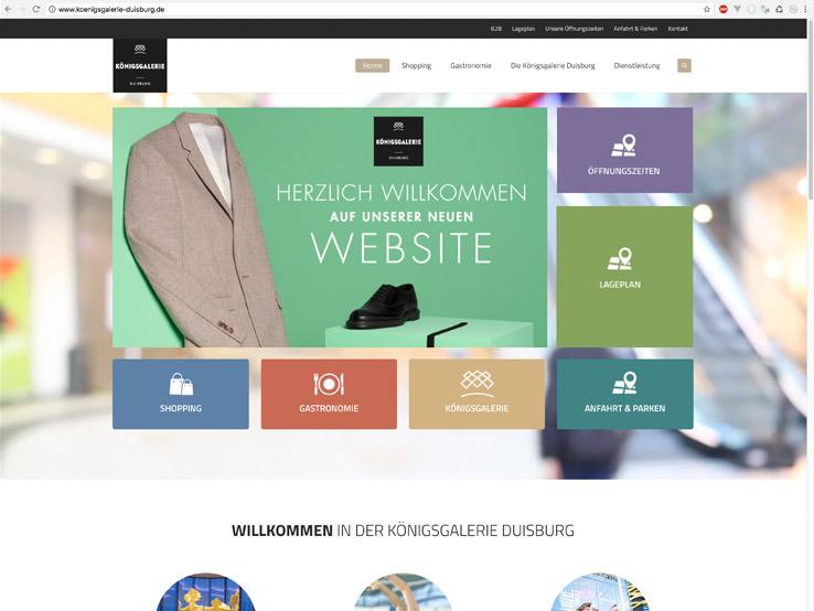 Umsetzung der Webpräsenz für eine große Shopping Mall in Duisburg